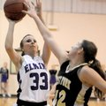 STAFF PHOTO ANTHONY REYES -- Elkins sophomore Alleigh Stahman (33) shoots as West Fork junior Katie ...