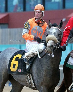 Win Willy, shown with jockey Cliff Berry after winning the 2011 Fifth Season Stakes, can push his career earnings past $1 million with a victory in today's Essex Handicap.