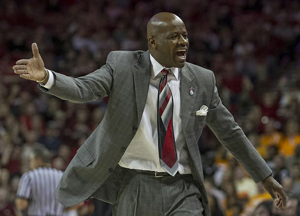 Arkansas' head coach Mike Anderson ...