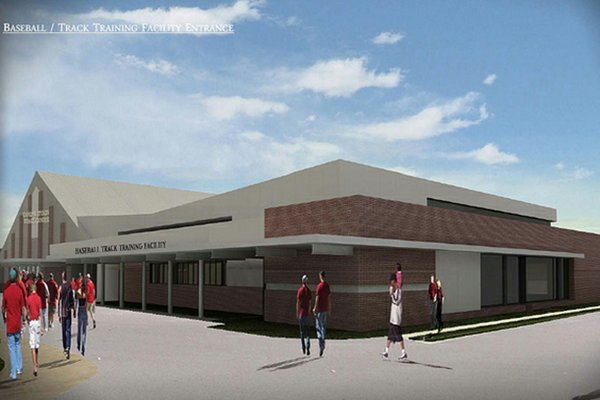 An artist's rendering shows a proposed dual-sport facility for baseball and track & field.