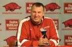 University of Arkansas head football coach Bret Bielema talks about the 22 players who committed to the Razorbacks as he conducts a press conference Wednesday afternoon.