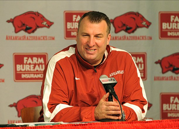 university-of-arkansas-head-football-coach-bret-bielema-talks-about-the-22-players-who-committed-to-the-razorbacks-as-he-conducts-a-press-conference-wednesday-afternoon
