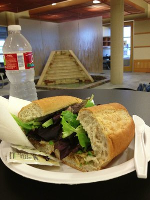 A Garden Burger on wheat roll with salad mix is $4 at the Central Arkansas Library System Main Library's Prose Garden Cafe.