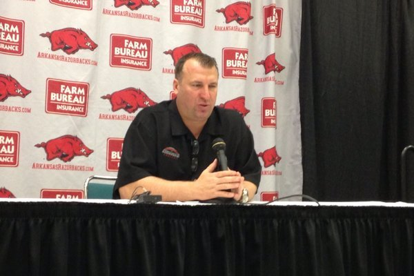 Arkansas coach Bret Bielema speaks at his Thursday evening press conference to discuss the Razorbacks' 2013 recruiting class.