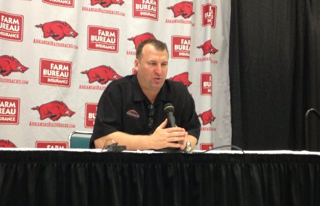 arkansas-coach-bret-bielema-speaks-at-his-thursday-evening-press-conference-to-discuss-the-razorbacks-2013-recruiting-class