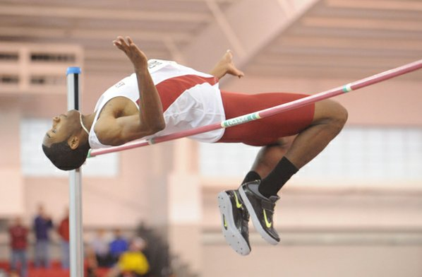Arkansas junior Michael May competes ...
