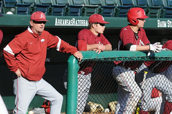 Arkansas head coach Dave Van Horn watches his team during a scrimmage Friday, Feb. 8, 2013 at Baum Stadium in Fayetteville.