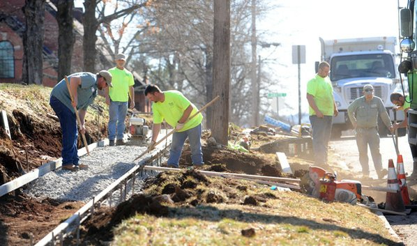 Transportation Division workers build a ...