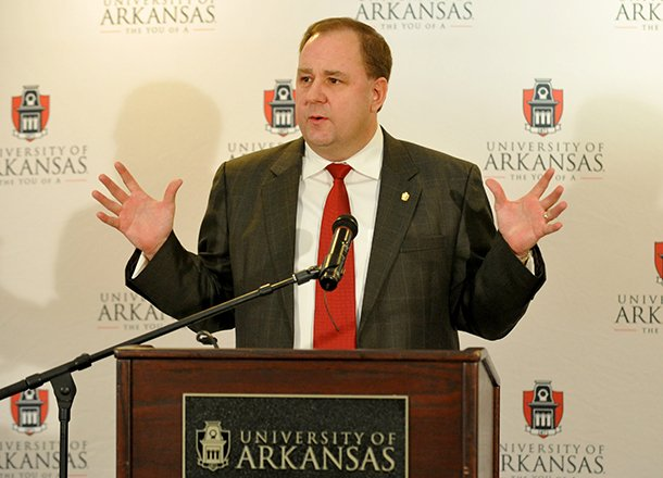 university-of-arkansas-senior-associate-athletic-director-of-development-chris-wyrick-speaks-during-a-press-conference-wednesday-morning-in-fayetteville