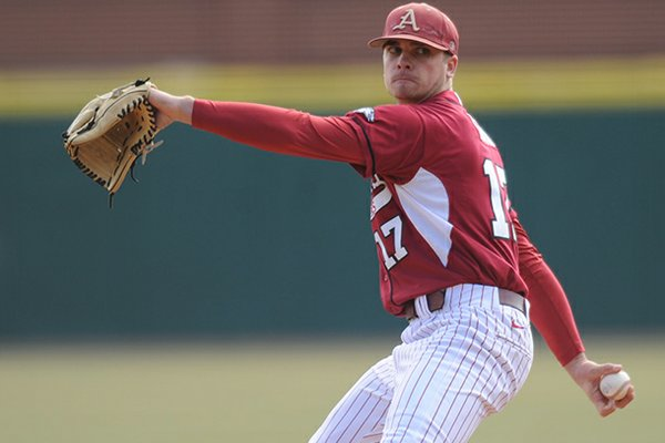 Arkansas pitcher Barrett Astin delivers a pitch Saturday, Feb. 16, 2013, during the second inning of the Hogs' win over Western Illinois at Baum Stadium in Fayetteville.