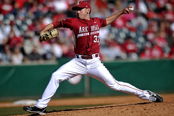 Arkansas pitcher Trent Daniel fires a pitch in the second inning of Sunday afternoon's game against Western Illinois at Baum Stadium in Fayetteville.