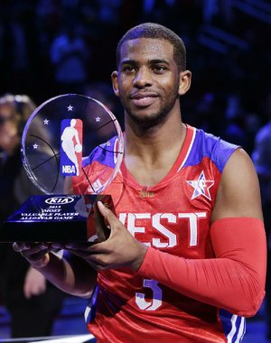 Los Angeles Clippers guard Chris Paul had 20 points and 15 assists to earn MVP honors in the Western Conference's 143-138 victory over the Eastern Conference on Sunday.