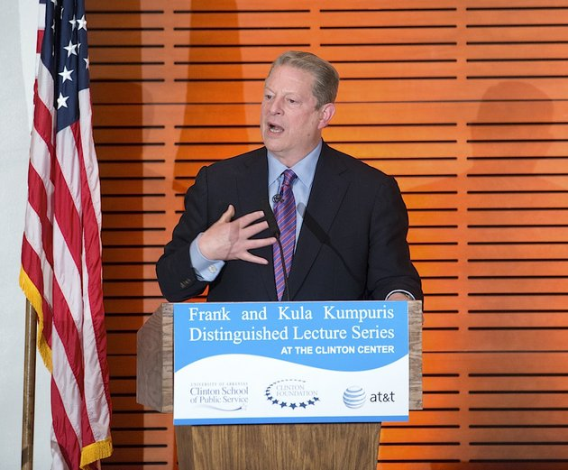 vice-president-al-gore-discusses-the-emerging-forces-that-are-reshaping-our-world-and-sign-his-new-book-the-future-six-drivers-of-global-change-at-the-clinton-presidential-library-on-monday-night