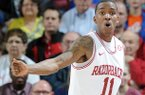 BJ Young reacts during the second half of Arkansas' win over Florida on Feb. 5.