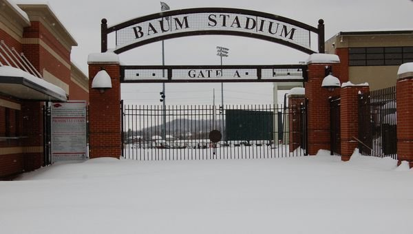 Snow covers the grounds outside Baum Stadium in this Feb. 10, 2011 photo.