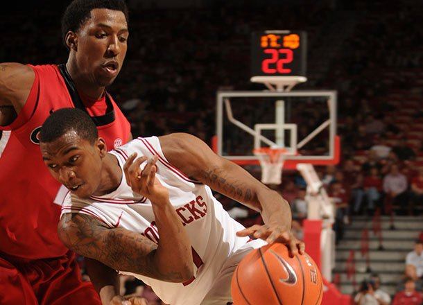 arkansas-guard-bj-young-drives-the-ball-georgia-thursday-at-bud-walton-arena-young-hit-a-game-winning-shot-with-53-seconds-left-as-the-razorbacks-won-62-60