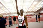 Arkansas' Makeba Alcide celebrates after winning the pentathlon on Friday, Feb. 22, 2013, during the SEC Indoort Championships at the Randal Tyson Track Center in Fayetteville.