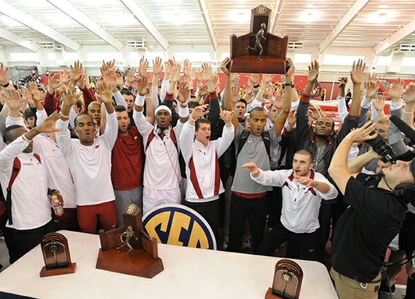 Arkansas athletes celebrate after the ...