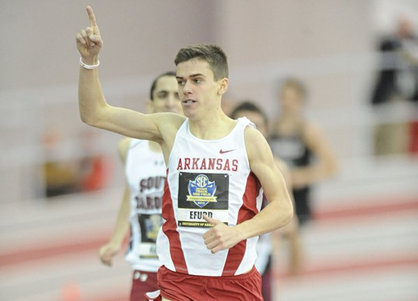 Arkansas junior Cameron Efurd celebrates ...