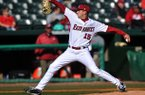 Arkansas pitcher Colin Poche fires a pitch during the first game of Tuesday afternoon's doubleheader against New Orleans at Baum Stadium in Fayetteville.