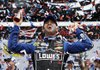 Jimmie Johnson celebrates in Victory Lane after winning the Daytona 500 on Sunday afternoon in Daytona Beach, Fla. It was the second Daytona 500 victory for Johnson, a five-time NASCAR champion who first won the race in 2006.