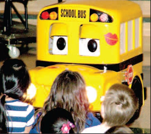 Buster the school bus spoke to students during a bus safety assembly at Gentry Primary School on Friday. The program is designed to teach children, in a memorable way, how to safely board and ride a school bus. Assemblies were held at the Primary and Intermediate Schools.