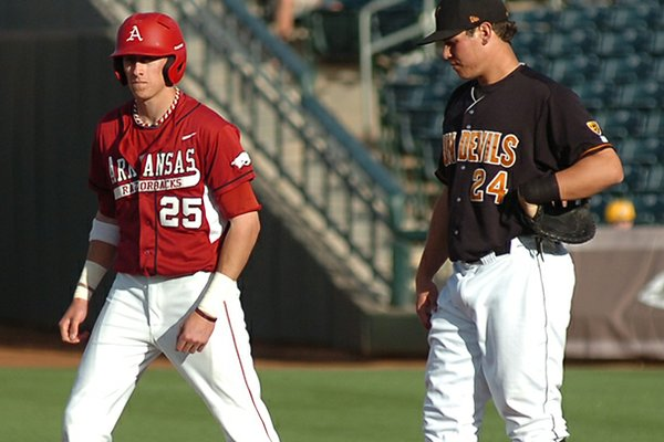 Arkansas' Dominic Ficociello watches from first base in the first inning of the Razorbacks' 3-1 loss to Arizona State on Saturday. Ficociello was one of six runners stranded in the game.