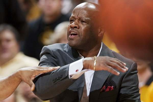Arkansas head coach Mike Anderson argues a call during the first half of an NCAA college basketball game against Missouri Tuesday, March 5, 2013, in Columbia, Mo. The game is the first in Mizzou Arena since his departure from the university. (AP Photo/L.G. Patterson)
