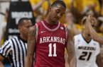 Arkansas' BJ Young drops his head after missing a shot late during the second half of an NCAA college basketball game against Missouri Tuesday, March 5, 2013, in Columbia, Mo. Missouri won the game 93-63. Young led all scorers with 27 points. (AP Photo/L.G. Patterson)