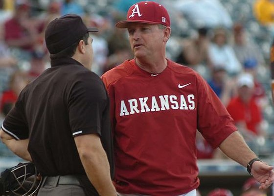 Arkansas coach Dave Van Horn argues a call with the home plate umpire during the Razorbacks' 3-1 loss to Arizona State on Saturday in Surprise, Ariz.