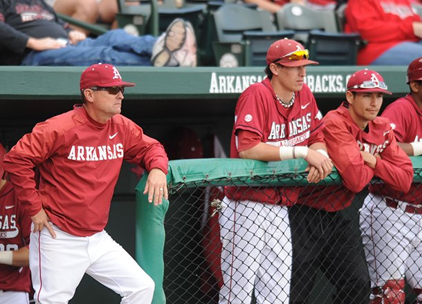 arkansas-coach-dave-van-horn-watches-from-the-dugout-saturday-march-9-2013-during-the-sixth-inning-of-the-razorbacks-win-over-san-diego-state-at-baum-stadium-the-win-is-van-horns-1000th-as-a-collegiate-coach