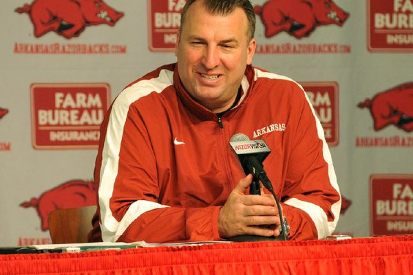 Coach Bret Bielema said there are coaching points he and his staff want to get across and a feeling-out process he wants to take place before in-person reporting takes place.