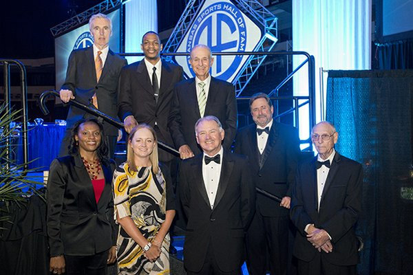 The new members of the 2013 Arkansas Sports Hall of Fame. Top Row: Frank O'Mara, Marcus Brown, Jeremy Jacobs, Stephen Outlaw (representing John Outlaw). Bottom Row: Sonja Tate, Stacy Lewis, Wyn Norwood and Don Nixon.