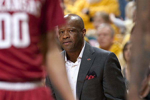 Arkansas head coach Mike Anderson looks at his players during the first half of an NCAA college basketball game against Missouri Tuesday, March 5, 2013, in Columbia, Mo. (AP Photo/L.G. Patterson)