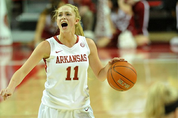 Arkansas guard Calli Berna brings the ball down court during the Razorbacks' game against the SIUE Cougars in the first half of Thursday evening's game at Bud Walton Arena in Fayetteville.