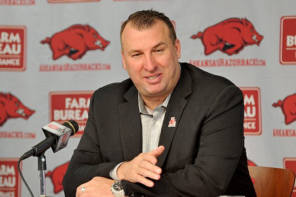 Head football coach Bret Bielema speaks to reporters during a press conference Friday afternoon at the University of Arkansas in Fayetteville.