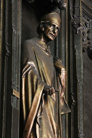 The image of St. Patrick, the patron saint of Ireland, is featured on the bronze front doors of St. Patrick's Cathedral in New York.
