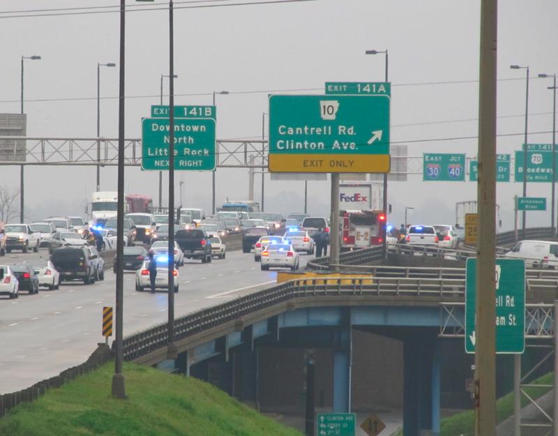 Police chase ends at I-30 bridge