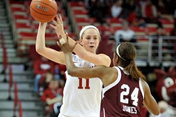 Arkansas point guard Calli Berna tries to get the ball past Texas A&M defender Jordan Jones during a game at Bud Walton Arena in Fayetteville.