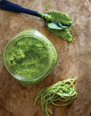Pesto can be made from a variety of hearty greens such as kale, chard, collards and rapini.