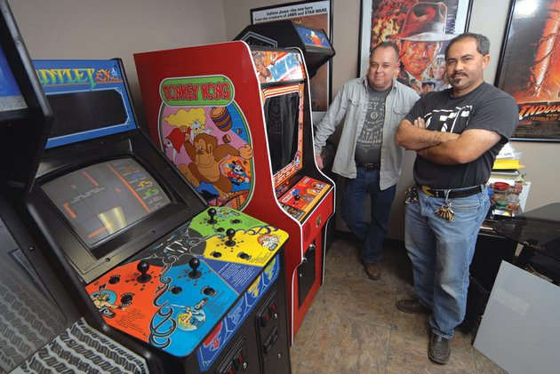 terry-south-left-and-daniel-solis-of-arcade-wizards-are-set-to-open-z82-retrocade-in-sherwood-this-summer-the-pair-currently-host-gamers-through-their-classic-gaming-association-which-meets-once-a-month-at-the-arcade-wizards-shop-in-sherwood-the-shop-holds-more-than-100-different-games