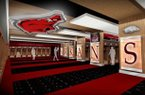 A rendering shows the locker room of Arkansas' football operations center to be opened later this year.