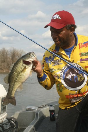 Tyrone Phillips caught a mess of bass like this Thursday in an Arkansas River backwater between Little Rock and Conway.