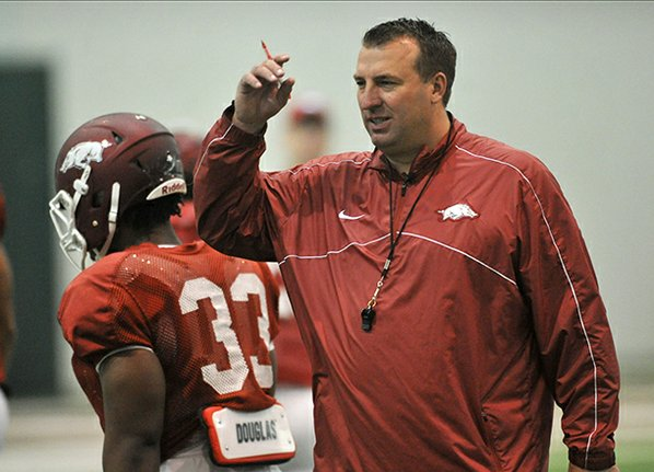 Arkansas football coach Bret Bielema ...