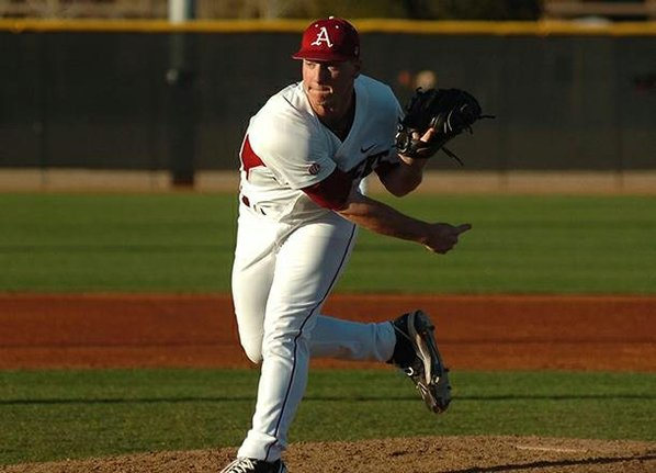 Arkansas pitcher Brandon Moore delivers ...