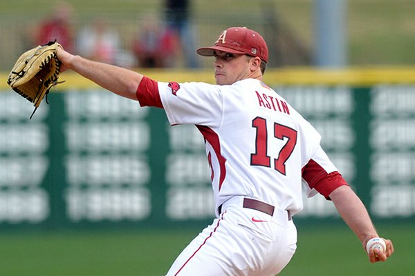 Arkansas' Barrett Astin pitched 4 1/3 innings in the Razorbacks' game at Alabama on Thursday.