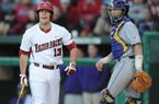 Arkansas designated hitter Michael Gunn (13) reacts to striking out Friday, April 12, 2013, during the third inning of play against LSU at Baum Stadium in Fayetteville.
