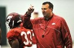 NWA Media/MICHAEL WOODS  --03/30/2013-- University of Arkansas football coach Bret Bielema said at his first press conference the Hogs would make the state a priority and recruit the state first.