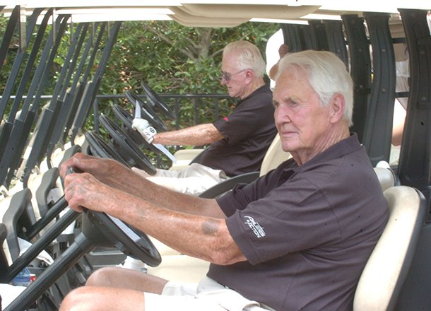 former-arkansas-athletic-director-frank-broyles-left-and-pat-summerall-prepare-to-head-out-for-the-start-of-the-2008-pat-summerall-celebrity-classic-at-chenal-country-club-in-little-rock