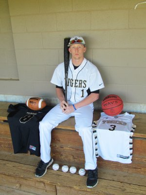 Austin Haggard, Bentonville senior, is not only a three-sport athlete, a rarity when many students in larger school prefer to concentrate on one sport, but he has made significant contributions to football, basketball and baseball teams this season.